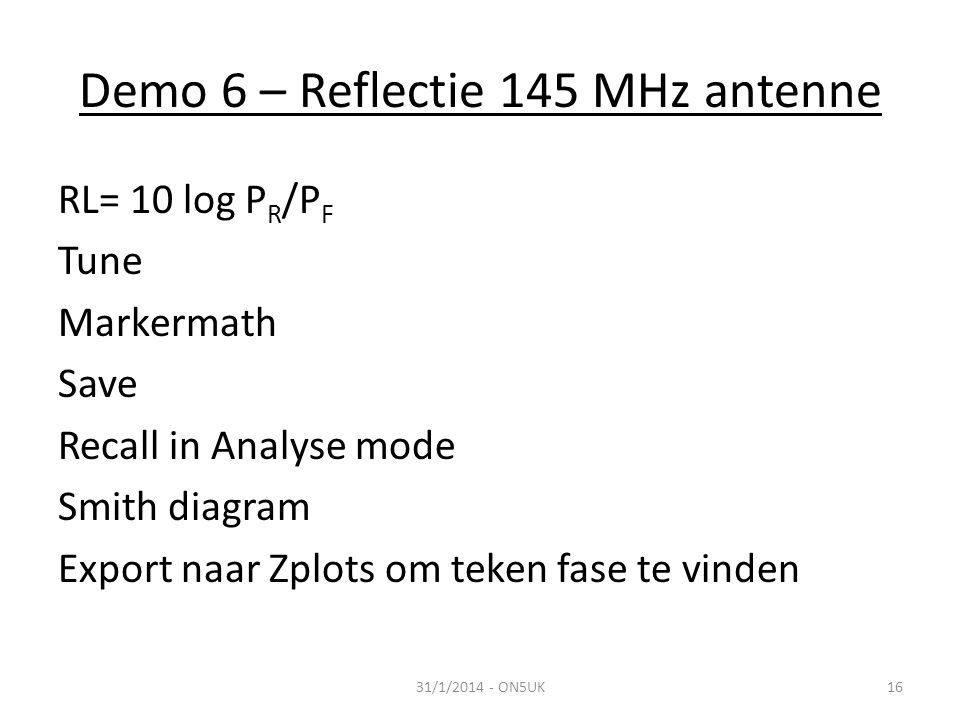 Demo 6 – Reflectie 145 MHz antenne