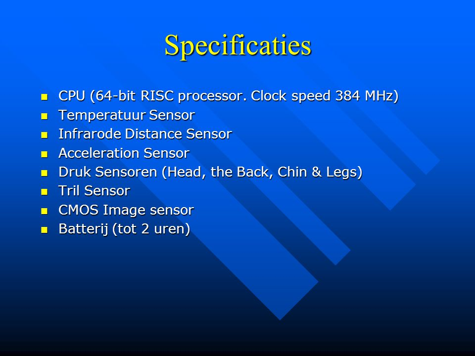 Specificaties CPU (64-bit RISC processor. Clock speed 384 MHz)
