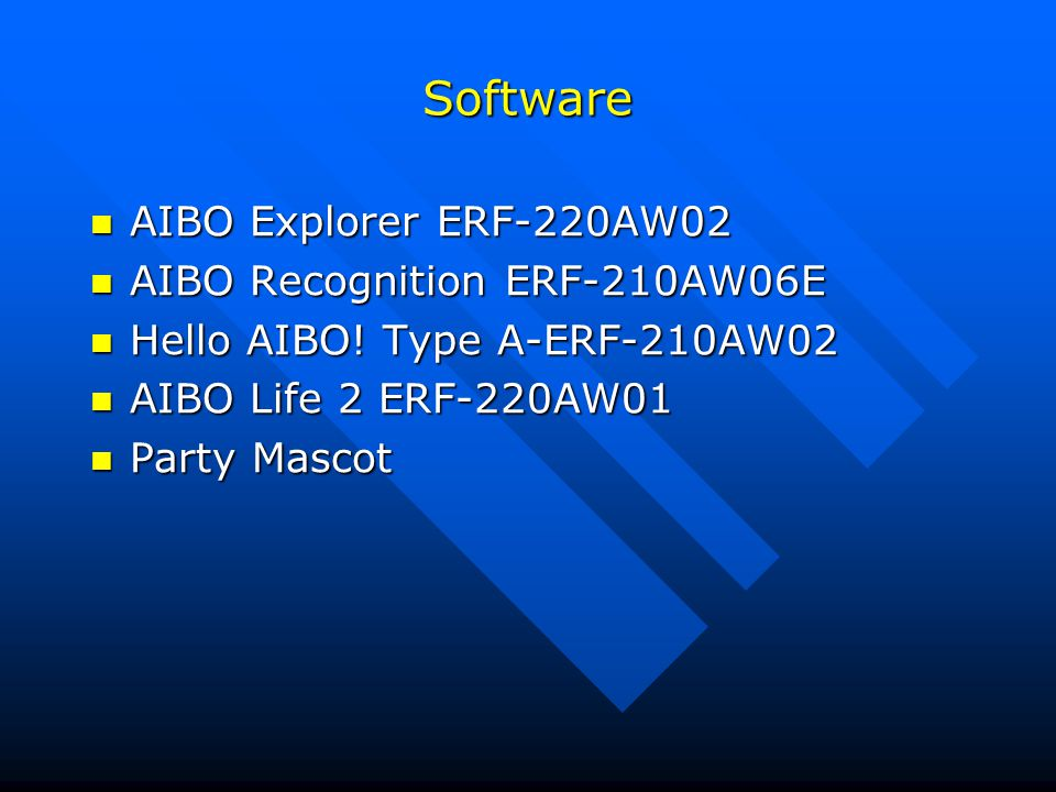 Software AIBO Explorer ERF-220AW02 AIBO Recognition ERF-210AW06E