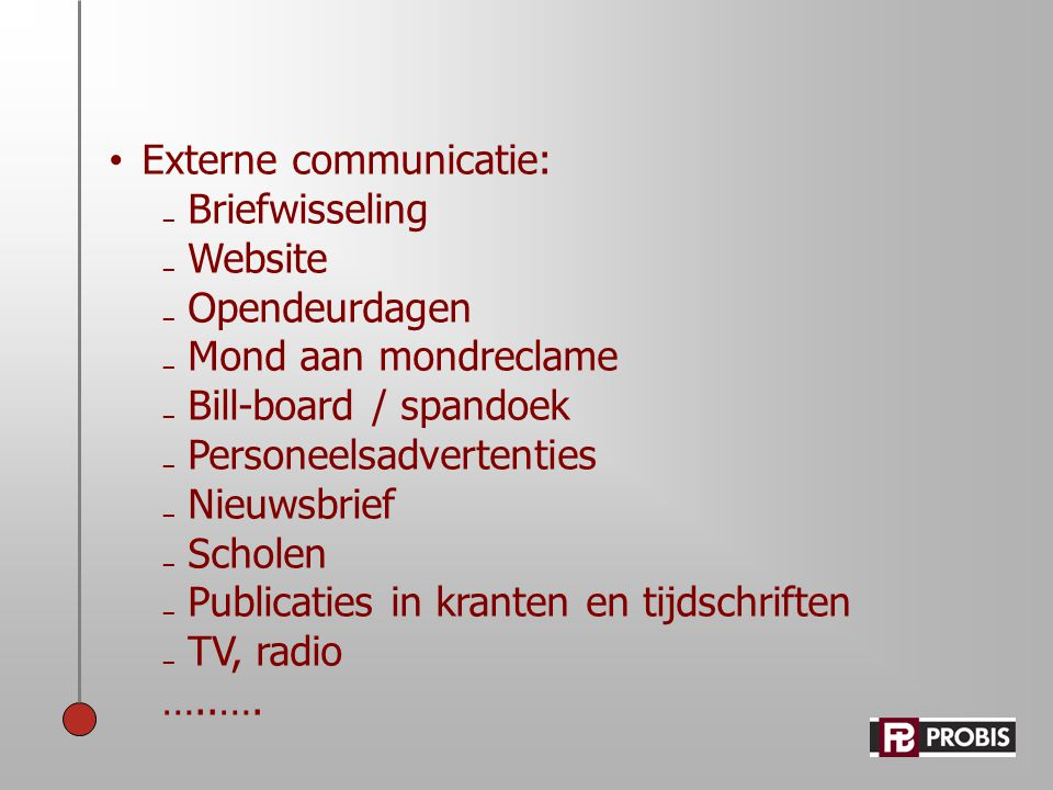 Externe communicatie: