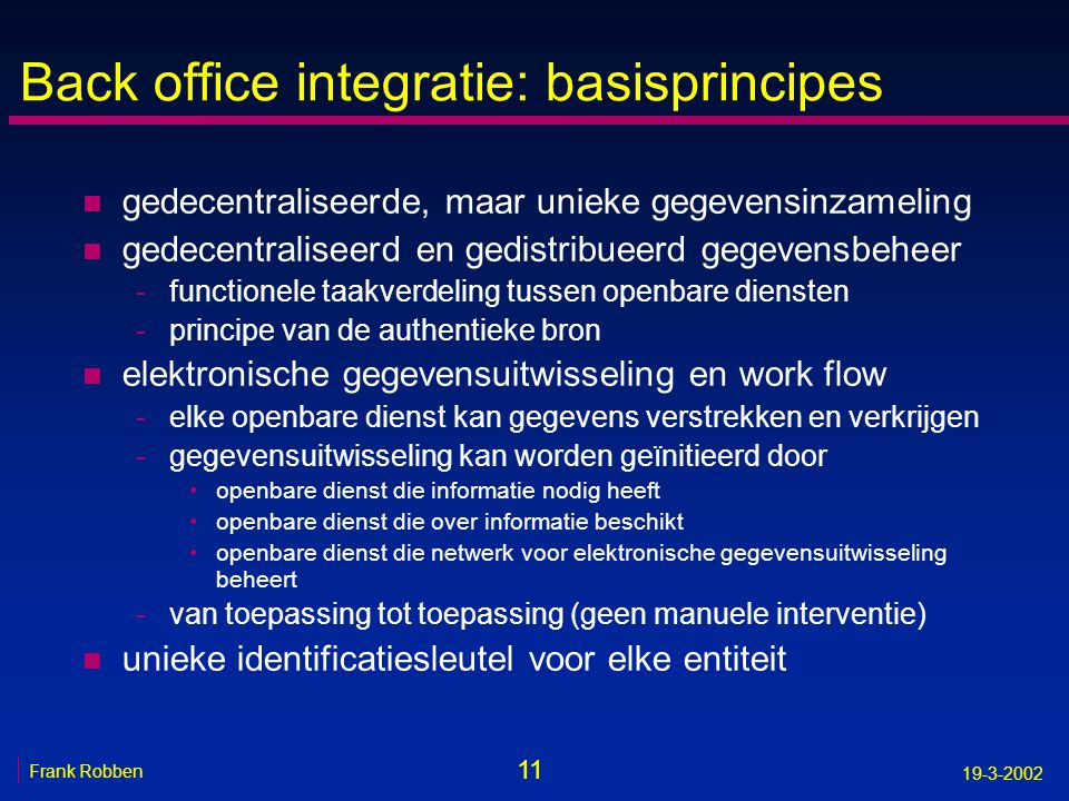 Back office integratie: basisprincipes