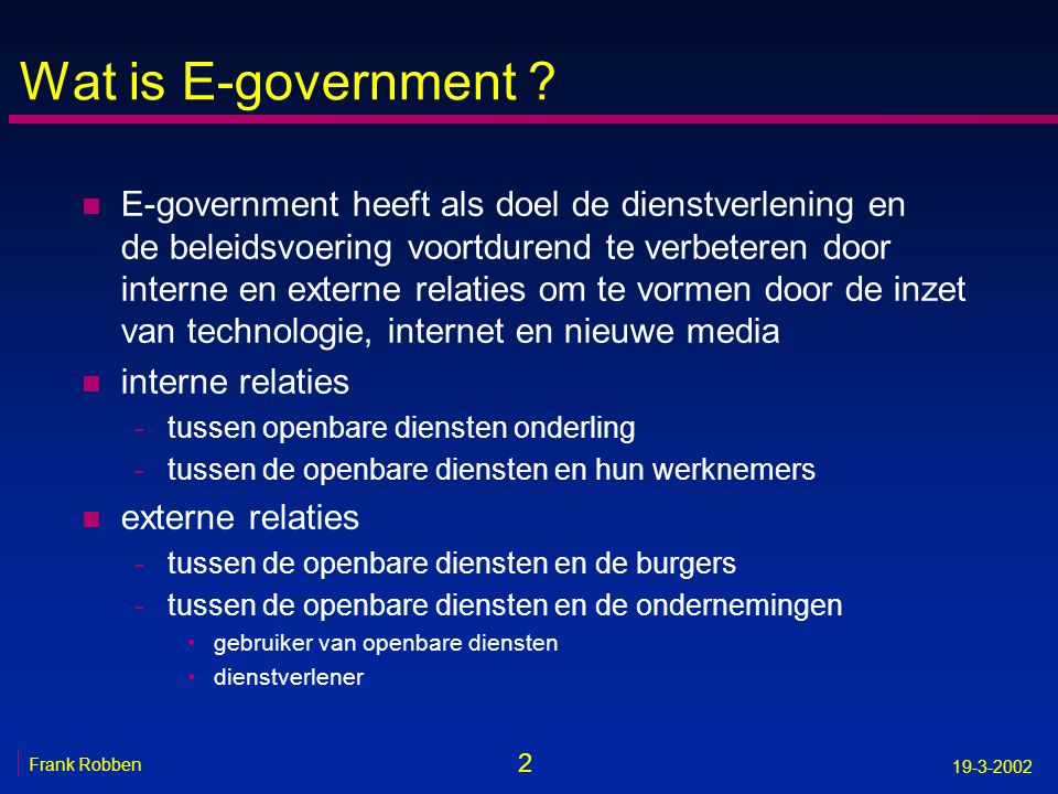 Wat is E-government