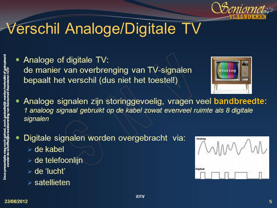 Verschil Analoge/Digitale TV
