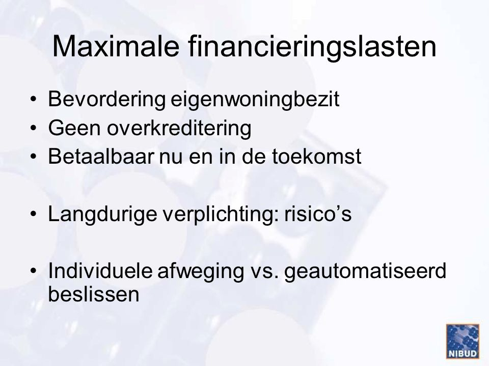 Maximale financieringslasten