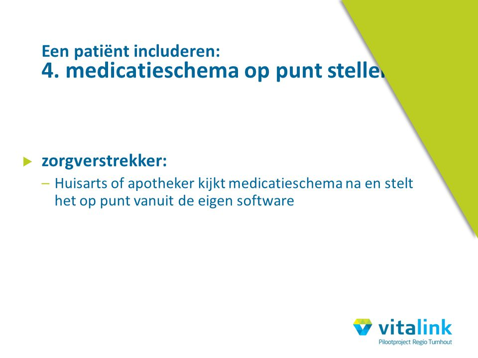 Een patiënt includeren: 4. medicatieschema op punt stellen