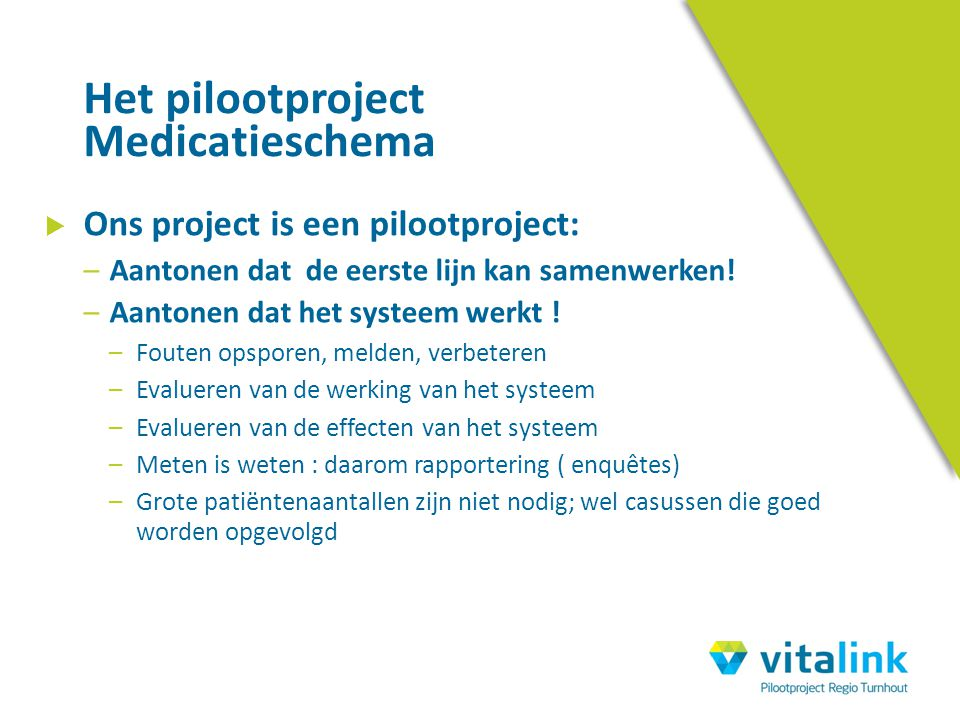 Het pilootproject Medicatieschema