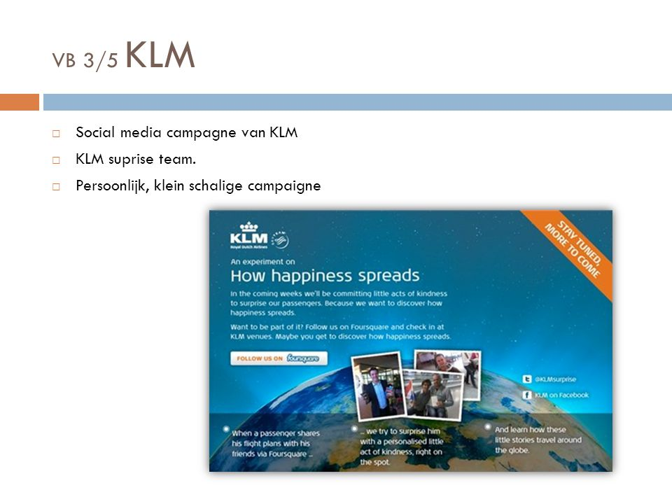 VB 3/5 KLM Social media campagne van KLM KLM suprise team.