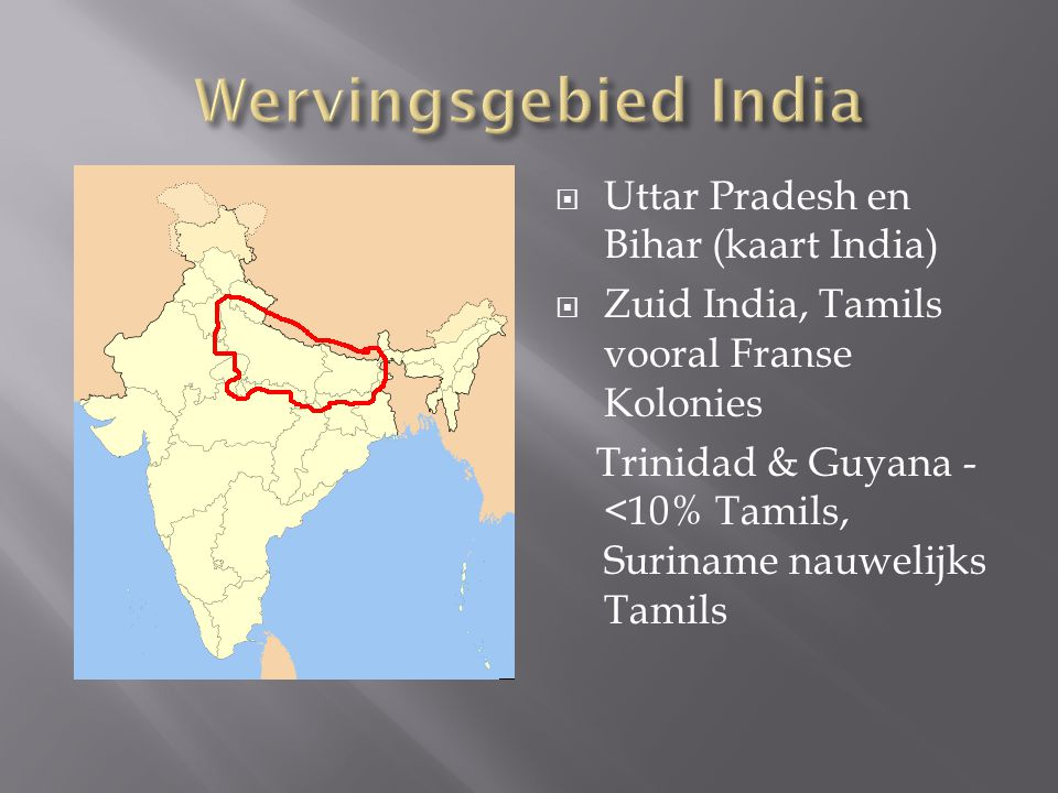 Wervingsgebied India Uttar Pradesh en Bihar (kaart India)
