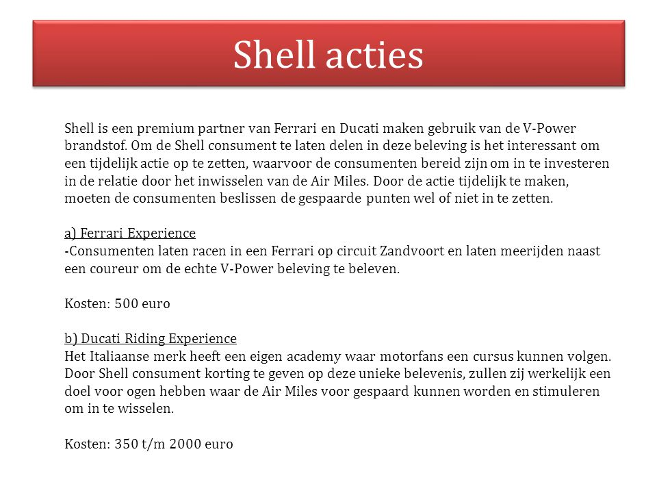 Shell acties