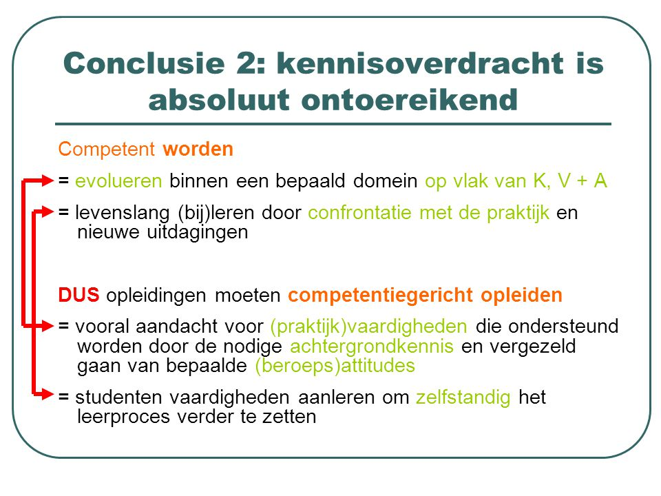 Conclusie 2: kennisoverdracht is absoluut ontoereikend