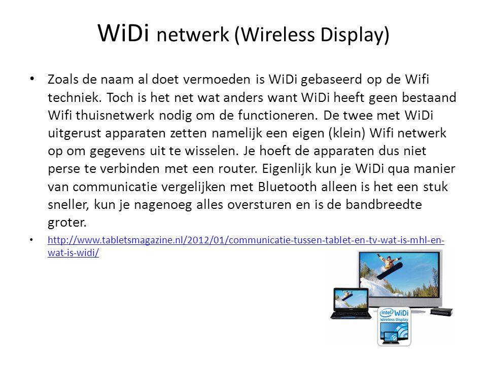 WiDi netwerk (Wireless Display)