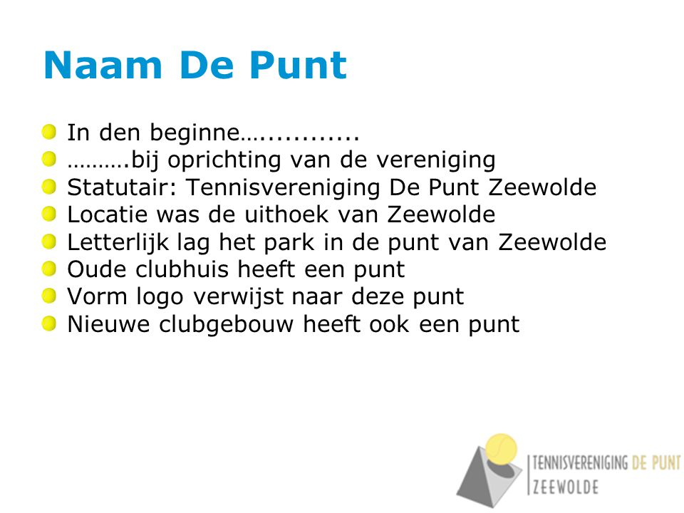 Naam De Punt In den beginne…