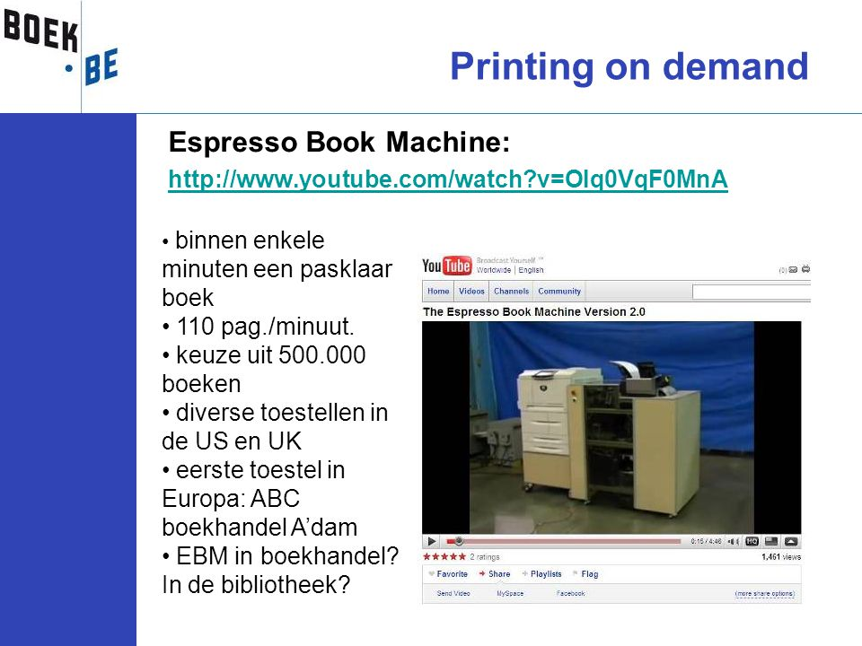 Printing on demand Espresso Book Machine: