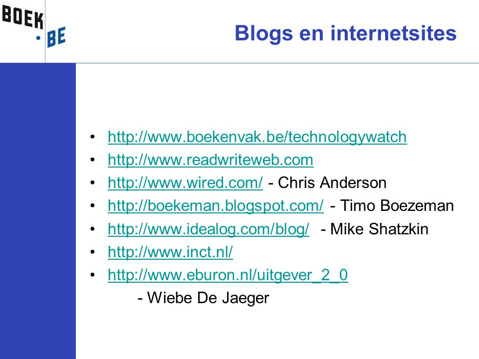 Blogs en internetsites