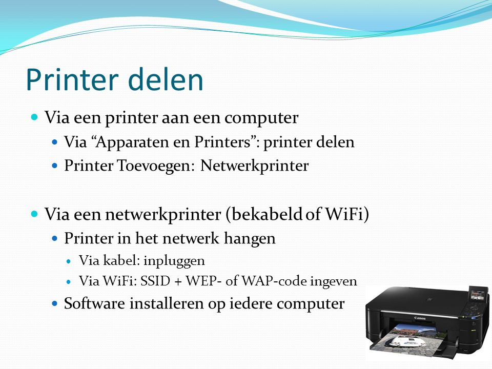 Printer delen Via een printer aan een computer
