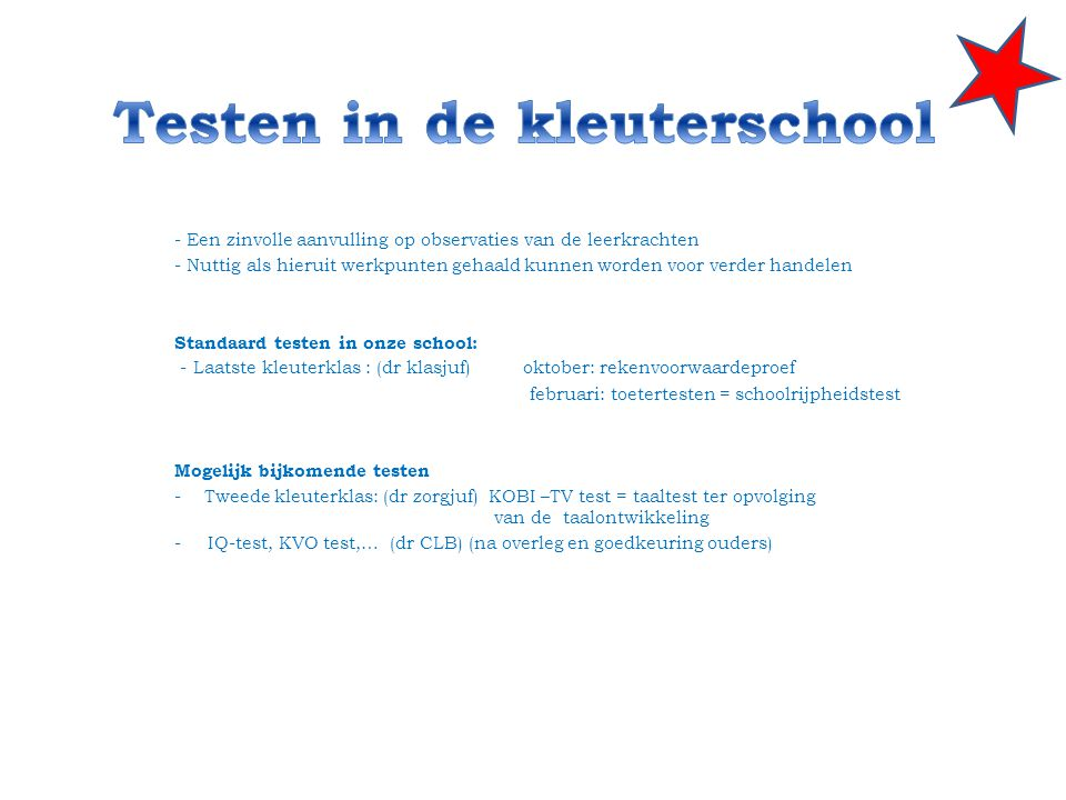 Testen in de kleuterschool