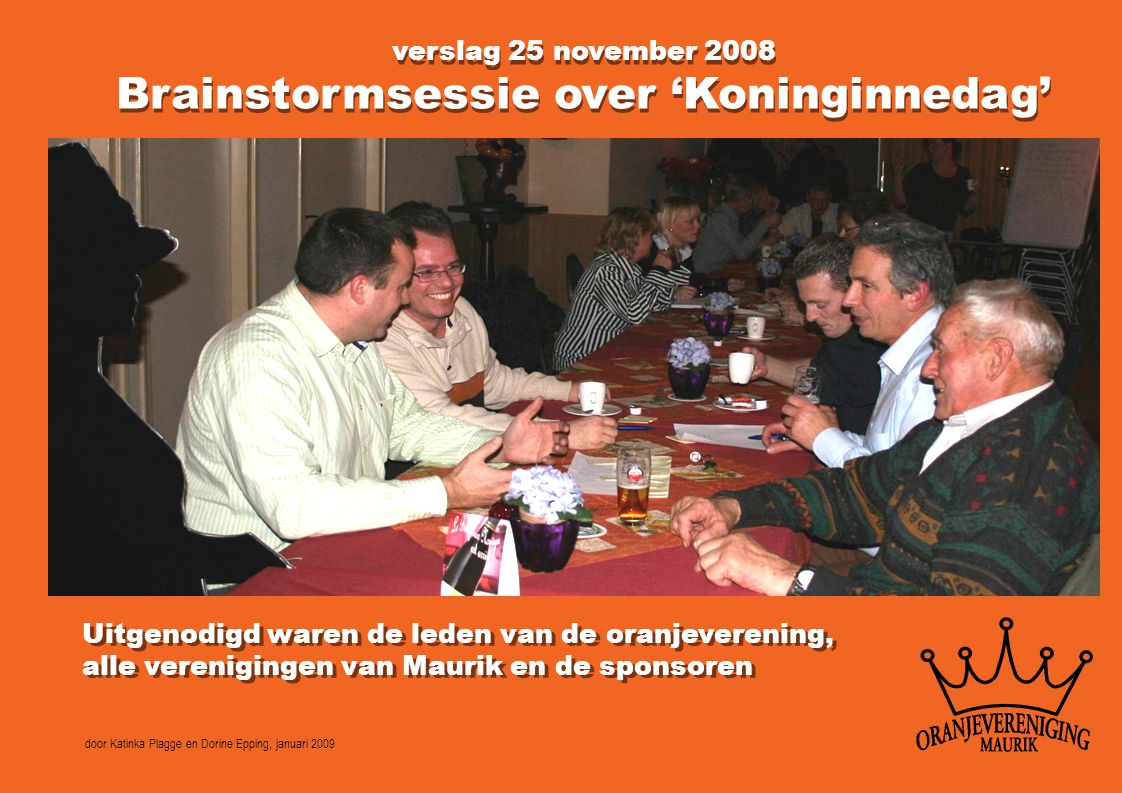 Brainstormsessie over 'Koninginnedag'