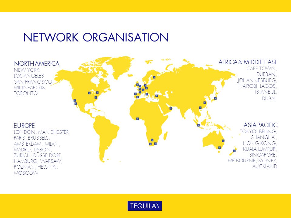 NETWORK ORGANISATION AFRICA & MIDDLE EAST NORTH AMERICA EUROPE