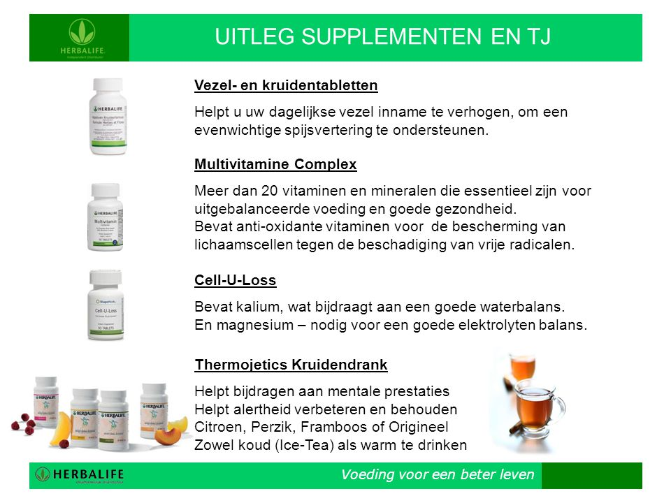 UITLEG SUPPLEMENTEN EN TJ