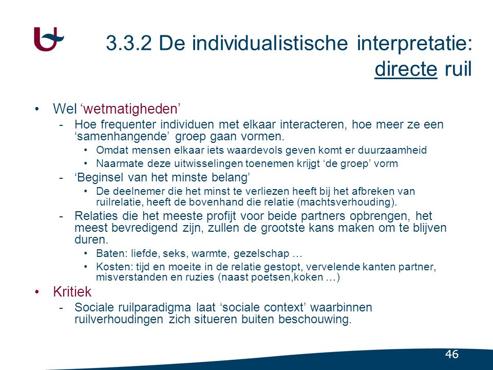 3.3.3 De collectieve interpretatie: indirecte ruil
