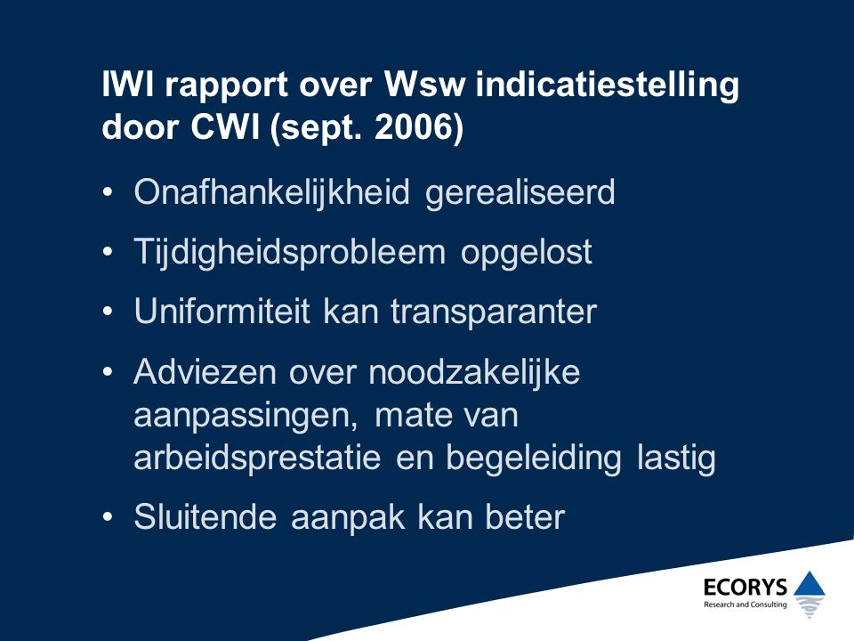 IWI rapport over Wsw indicatiestelling door CWI (sept. 2006)