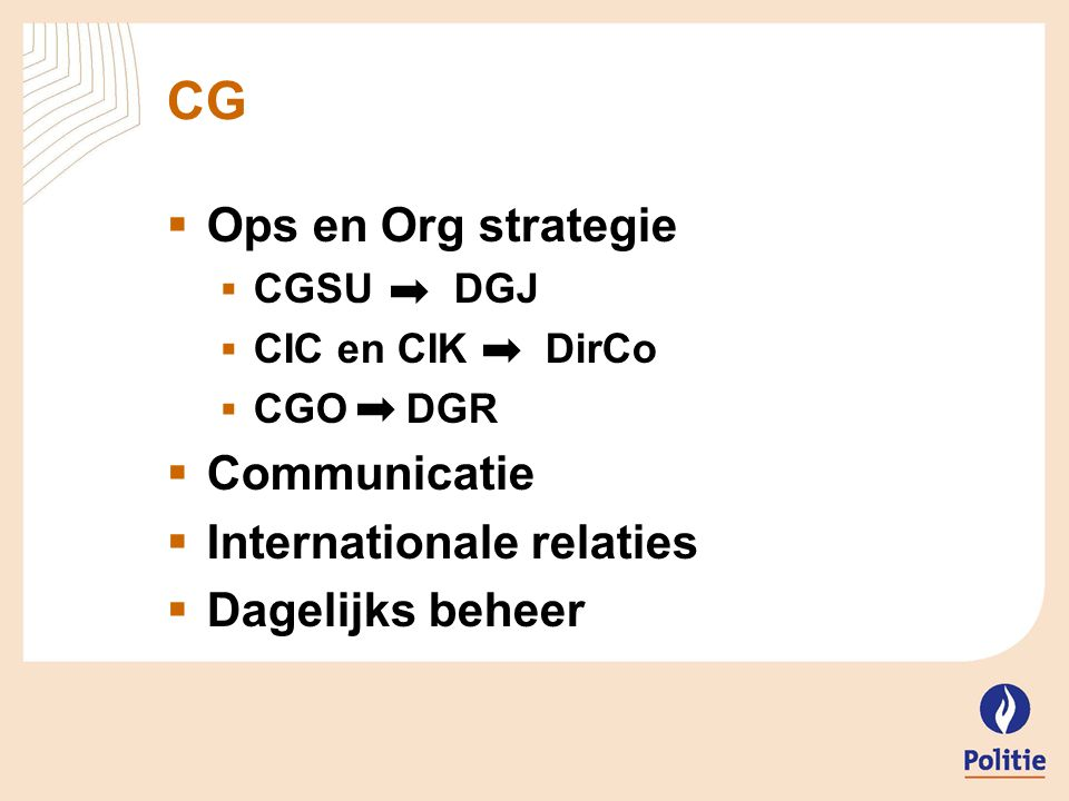CG Ops en Org strategie Communicatie Internationale relaties