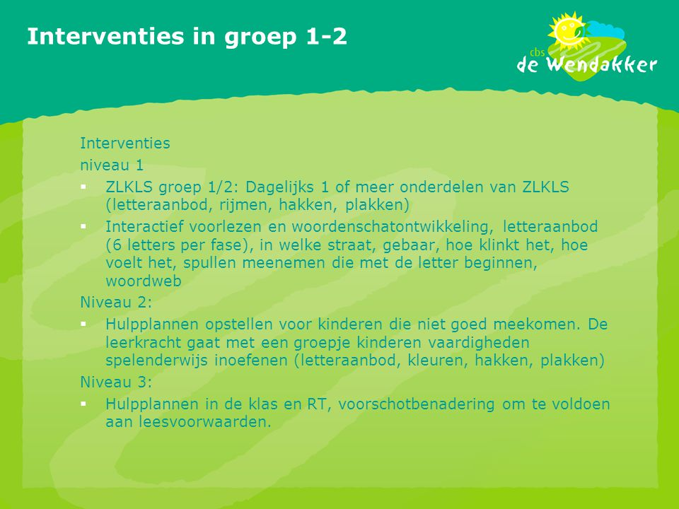Interventies in groep 1-2