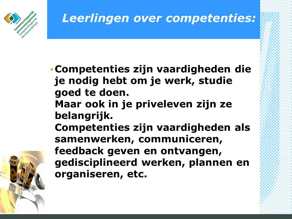 Leerlingen over competenties: