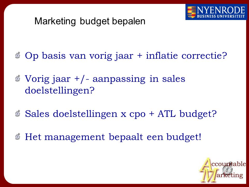 Marketing budget bepalen