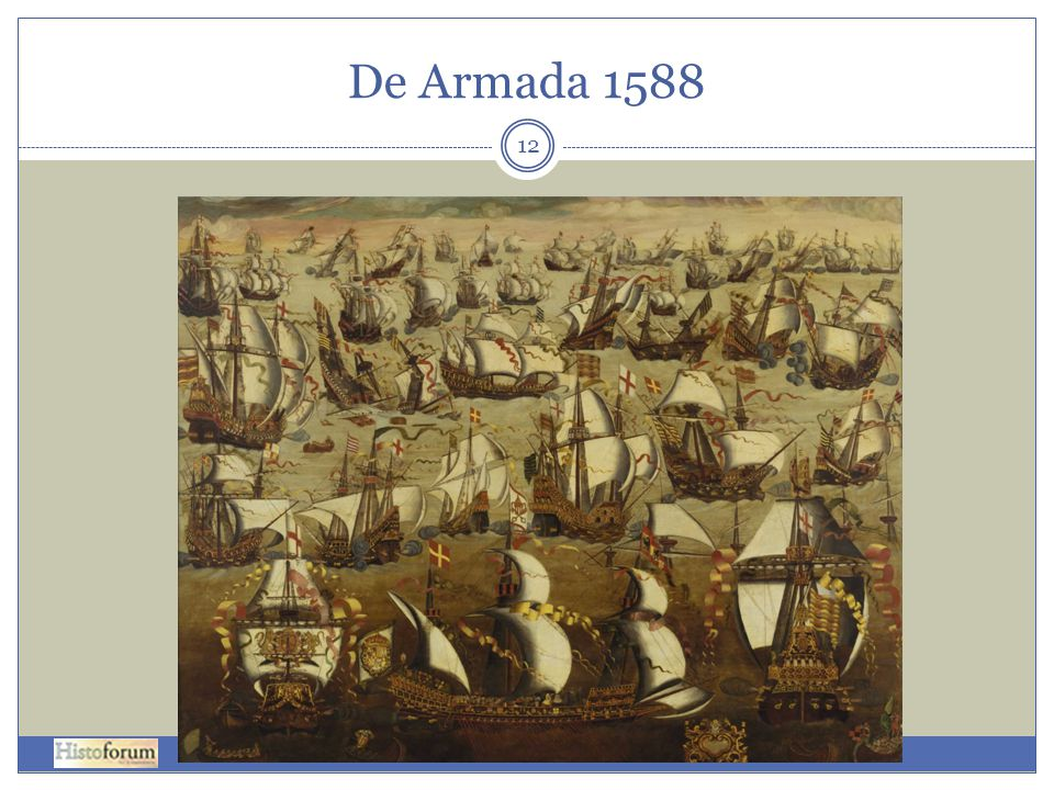 De Armada 1588 The Spanish Armada and English ships in August 1588, by unknown painter (English School, 16th century)