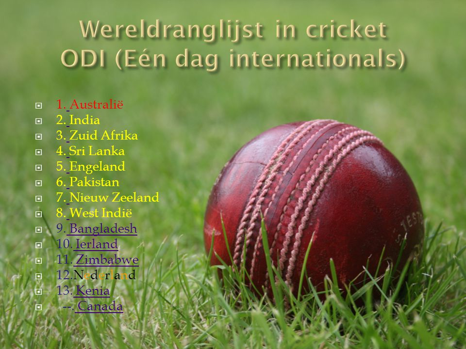 Wereldranglijst in cricket ODI (Eén dag internationals)