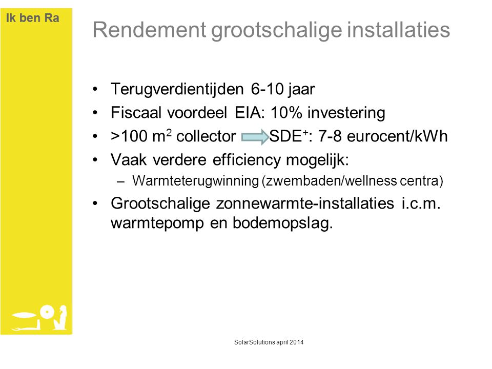 Rendement grootschalige installaties