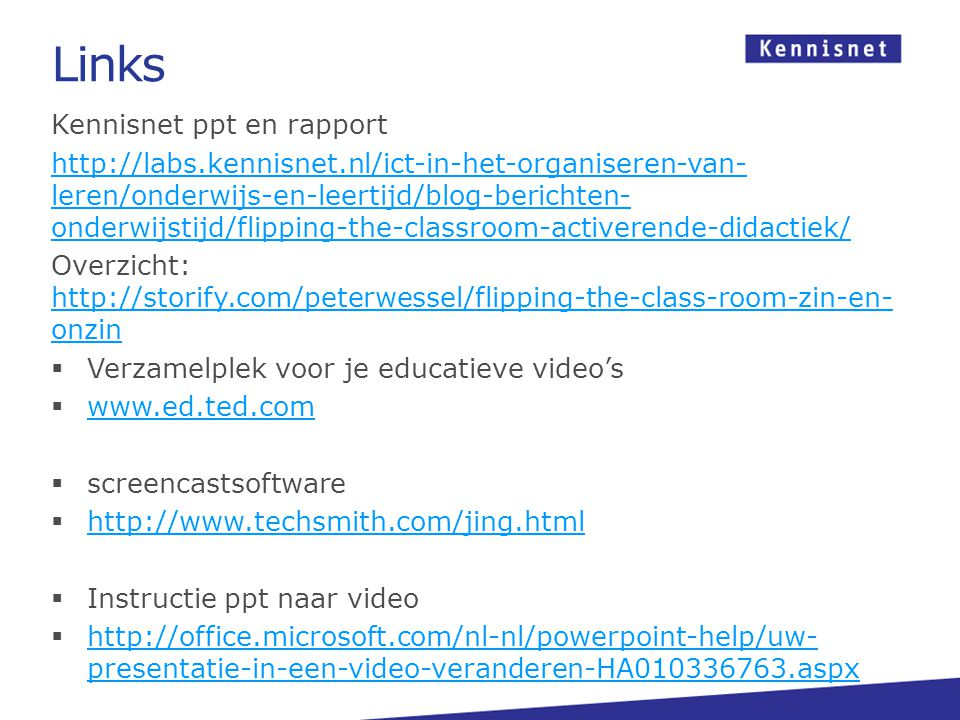 Links Kennisnet ppt en rapport