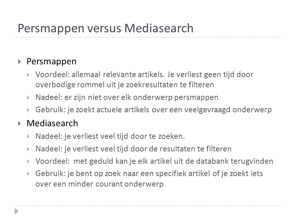 Persmappen versus Mediasearch