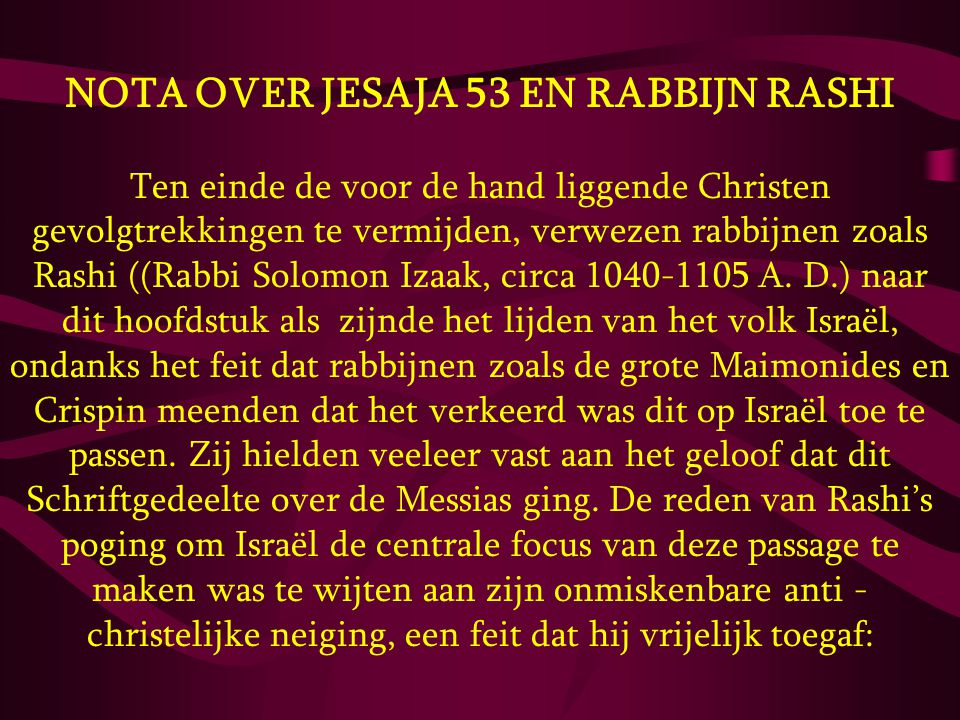 NOTA OVER JESAJA 53 EN RABBIJN RASHI