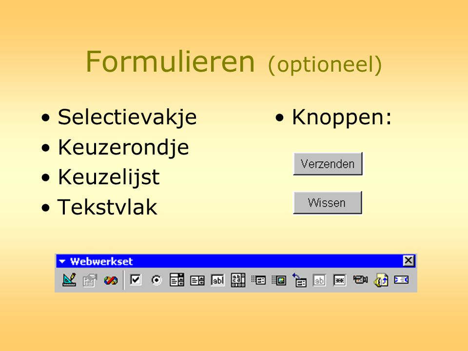 Formulieren (optioneel)