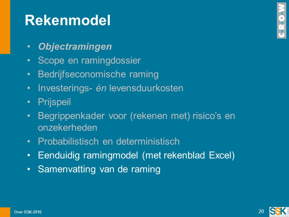 Rekenmodel Objectramingen Scope en ramingdossier