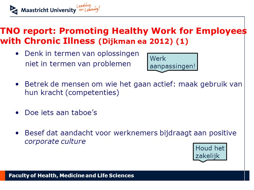 TNO report: Promoting Healthy Work for Employees with Chronic Illness (Dijkman ea 2012) (1)