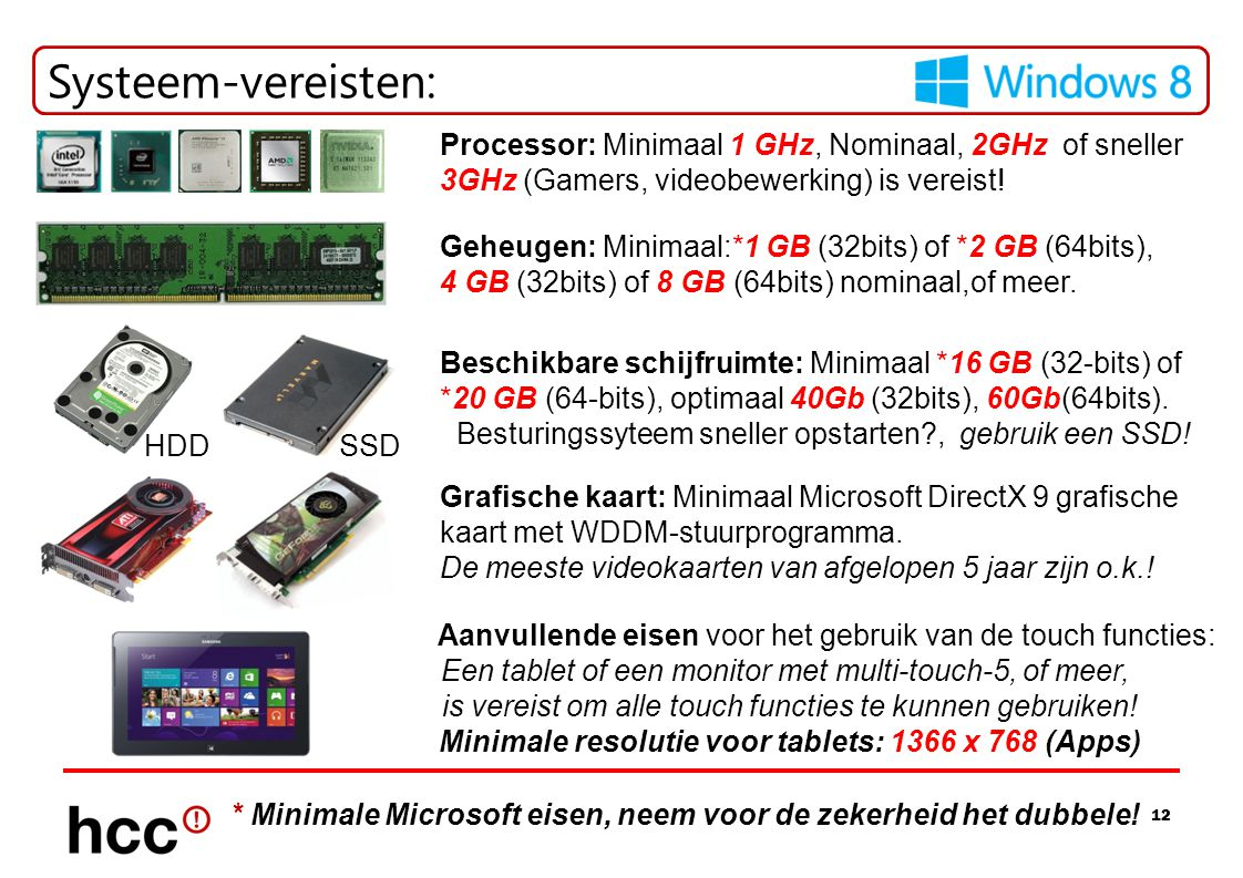 Minimale resolutie voor tablets: 1366 x 768 (Apps)