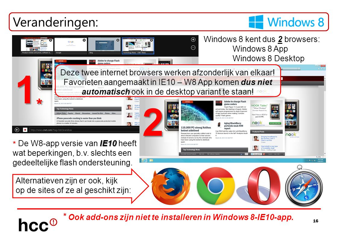 Veranderingen: Windows 8 kent dus 2 browsers: Windows 8 App. Windows 8 Desktop. 1*