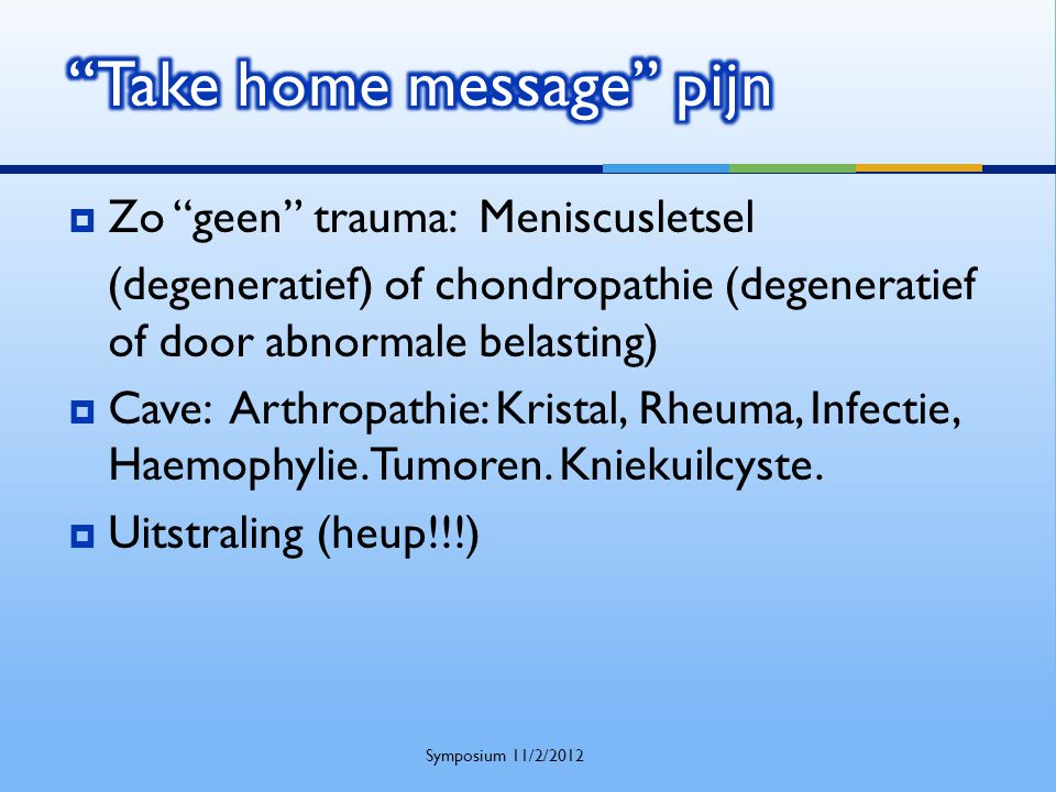 Take home message pijn