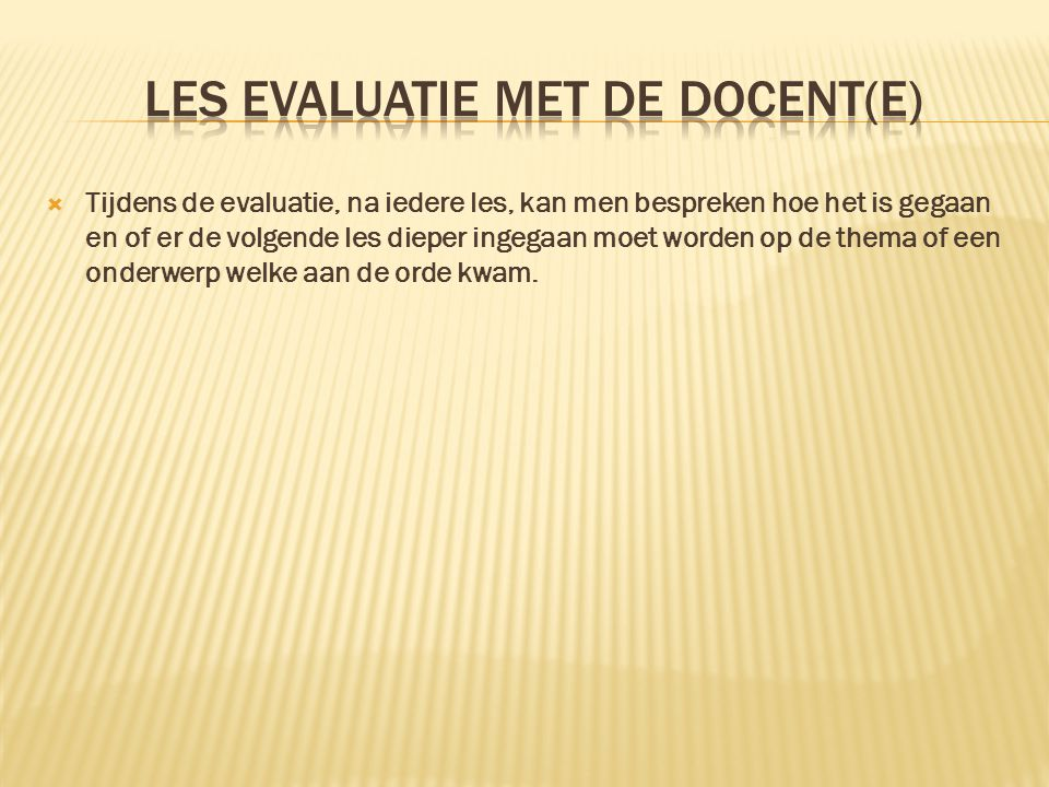 les evaluatie met de docent(e)