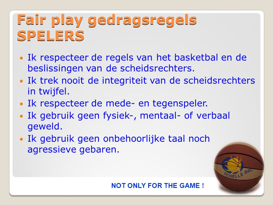 Fair play gedragsregels SPELERS