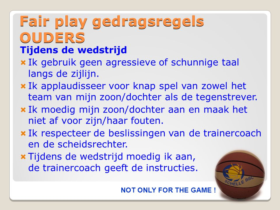 Fair play gedragsregels OUDERS