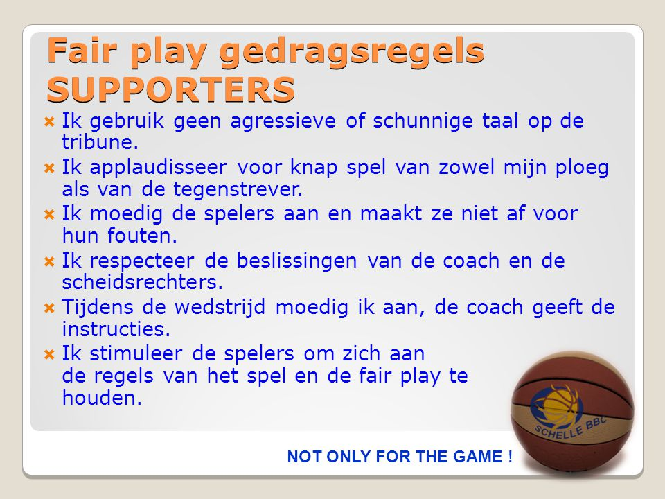Fair play gedragsregels SUPPORTERS
