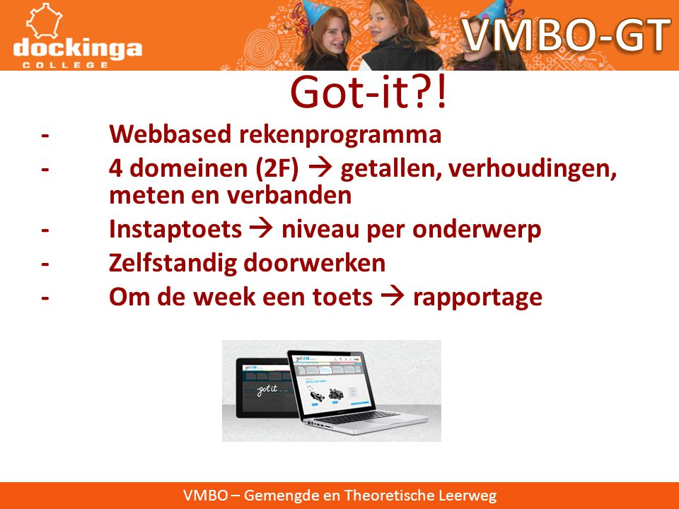 VMBO-GT Got-it ! - Webbased rekenprogramma