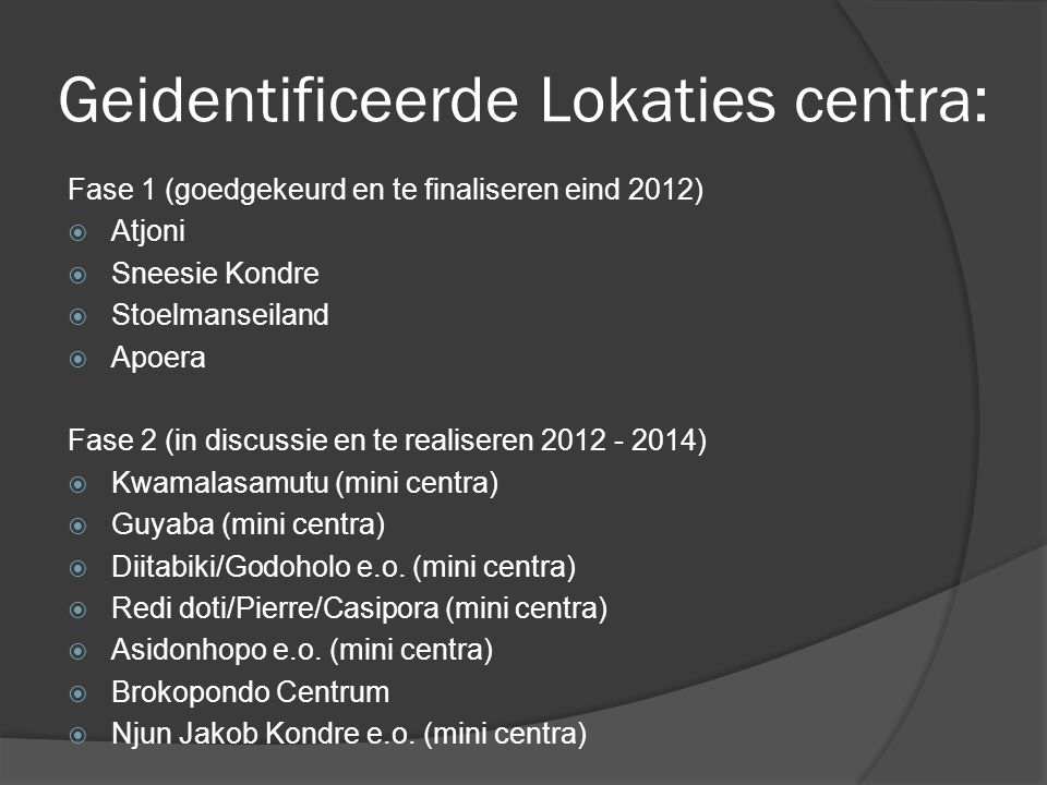 Geidentificeerde Lokaties centra: