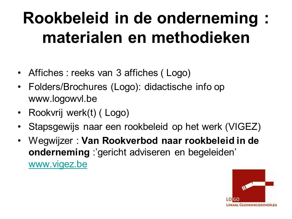 Rookbeleid in de onderneming : materialen en methodieken