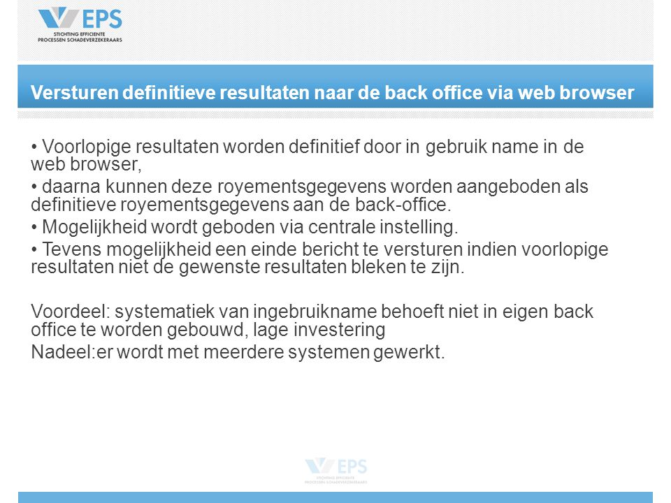 Versturen definitieve resultaten naar de back office via web browser