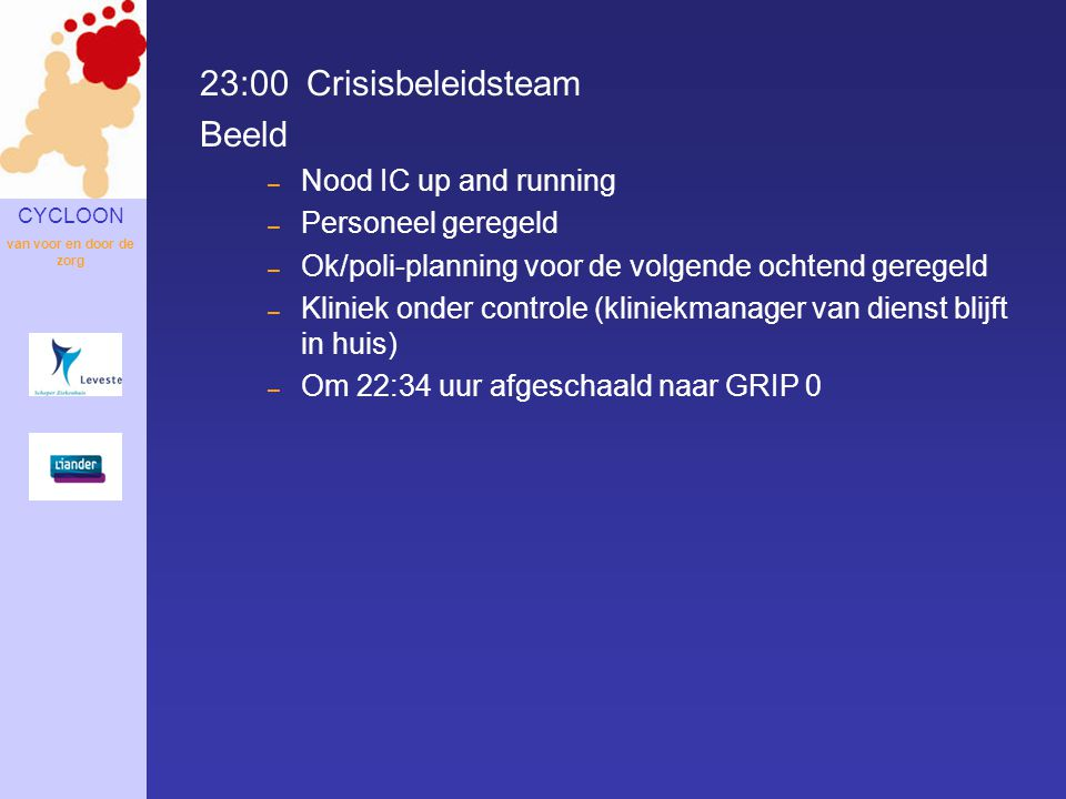 23:00 Crisisbeleidsteam Beeld Nood IC up and running